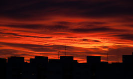 Dark red sky. Bloody sky at sunset Stock Photography
