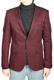 Dark red suit jacket for men, combined with jeans trousers. Royalty Free Stock Image