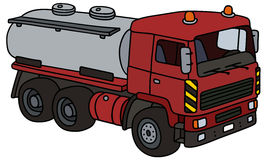 Dark red tank truck. Hand drawing of a dark red heavy tank truck - not a real type Stock Image