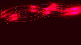 Dark red transparent abstract shining magical cosmic magical energy lines, rays with highlights and dots and light shines on a red. Background from above stock illustration