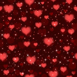Dark red  Valentines seamless pattern with hearts. Vector background Stock Photos
