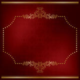 Dark red vector card with gold decor Royalty Free Stock Photography
