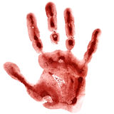 Dark red watercolor hand print Royalty Free Stock Images