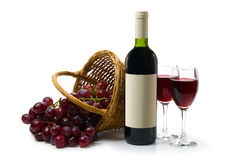 Dark red wine on white back Royalty Free Stock Photography