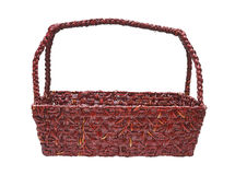 Dark red woven basket Stock Photos