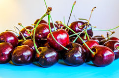 Dark redcherries. A small group of dark red cherries Royalty Free Stock Photography