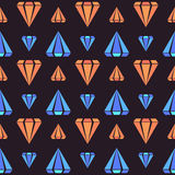 Dark retro seamless pattern with orange and blue diamond shapes Stock Images
