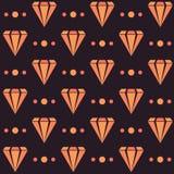 Dark retro seamless pattern with orange diamonds and dots Royalty Free Stock Photo