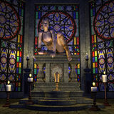 The dark Ritual. 3D rendering young woman sitting on an altar Royalty Free Stock Images