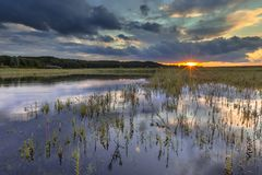 Dark river foreland landscape image with setting sun. Dark landscape image of setting sun in river foreland with heavy clouds in the marshlands of the Rhine near royalty free stock photos