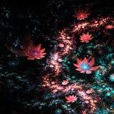 Dark river of fractal flowers Stock Photo