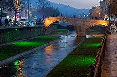Dark river in night - Turkey Stock Photo