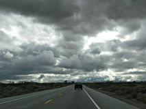 Dark road trip. A road trip into darkening skies down Route 395 from Mammoth Royalty Free Stock Images