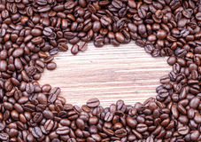 Dark roast coffee beans. Dark roasted coffee beans, copy space for your text Stock Photography