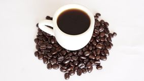 Dark Roast Coffee and Beans Royalty Free Stock Photography