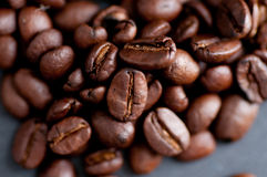 Dark roast coffee beans Stock Photography