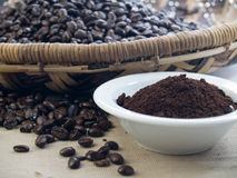 Dark roast ground coffee Stock Photos