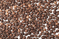 Dark roasted coffee beans on white background Stock Images
