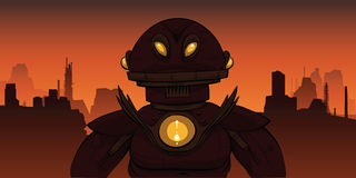 Dark Robot. A dark and ominous cartoon robot in a desolate landscape Royalty Free Stock Image