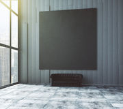 Dark room with black picture frame and window. Mock up Royalty Free Stock Photography
