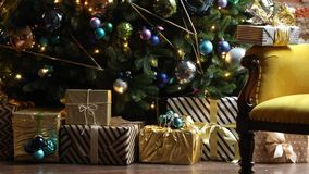 Christmas and New Year interior decoration stock video