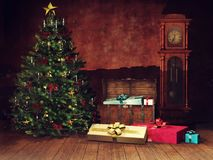 Dark room with a Christmas tree and old clock. Dark room with an old clock, chest, Christmas tree and colorful presents royalty free illustration