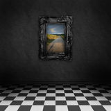 Dark room with a colorful picture on the wall. Empty, dark, psychedelic room with black and white checker on the floor and a colorful painting with road Royalty Free Stock Photography
