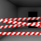Dark room with danger tape Stock Image