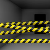 Dark room with danger tape Stock Photos