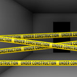 Dark room with danger tape Royalty Free Stock Photos