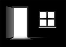 Dark room with door Royalty Free Stock Images