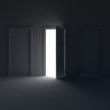 Dark room with the door open and the light behind her. 3d illustration. Royalty Free Stock Photography