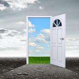 Dark room with door opening to summer day. A dark grungy room with a door opening to a beautiful summer day. 3d illustration Royalty Free Stock Image