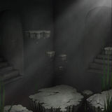 Dark room with floating islands Stock Photo