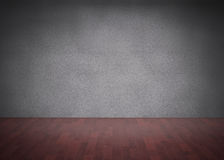 Dark room with floorboards. And grey wall Royalty Free Stock Image