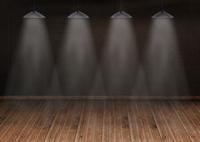 Dark room with floorboards Royalty Free Stock Photos