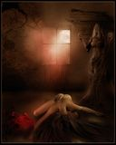 Dark room with a girl. And red gift box royalty free illustration