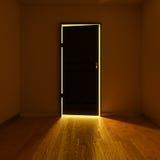 Dark room with an illuminated door Stock Photography