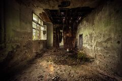 Dark room interior with damaged roof Royalty Free Stock Photography