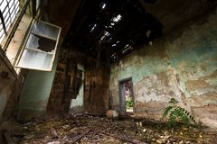 Dark room interior with damaged roof Royalty Free Stock Image
