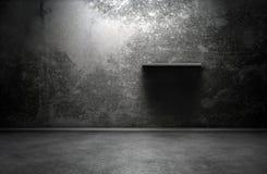 Dark room. Interior with shelf vector illustration