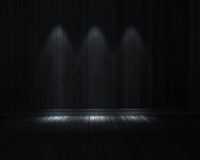 Dark room. With 3 light with wooden floor Royalty Free Stock Photos