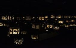 In a dark room that`s full of lanterns. Taken at Kasuga-Taisha, Japan Stock Image