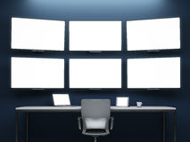 Dark room with video wall Royalty Free Stock Photography