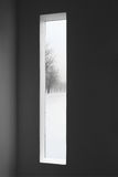 Dark room and winter landscape outside the window Stock Images