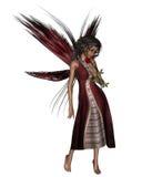 Dark Rose Fairy. Digital render of a dark-skinned fairy holding a red rose Royalty Free Stock Photos