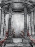 Dark rotunda with roses Stock Photography