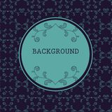 Dark round frame with floral background Stock Photography