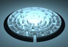 Dark round maze with an illuminated center Stock Images