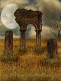 Dark ruin. In a field Stock Images